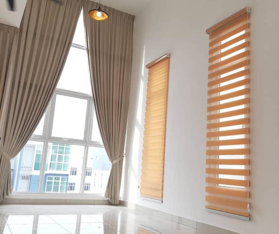 Bidai Zebra Gulung (Zebra Blind) dari kain jenis Tisa, bidai custom-made murah & berkualiti